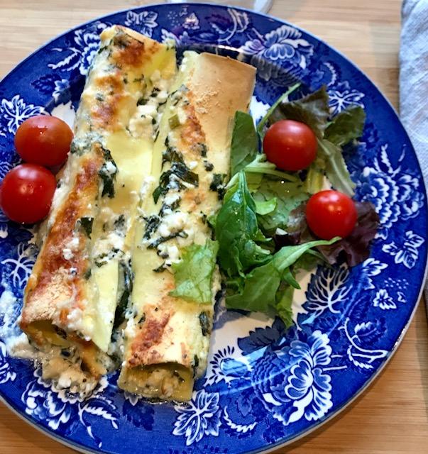 Pastarullar med Ricotta och Spenat